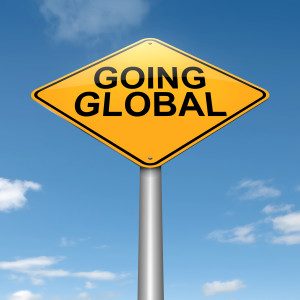 Illustration depicting a roadsign with a going global concept. Sky background.
