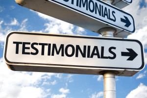 Testimonials direction sign on sky background