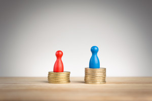 Wage gap concept for male and female salaries